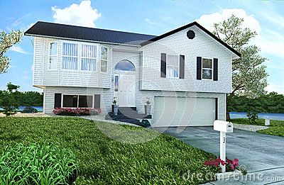 Casa di legno americana tipica con il giardino gli alberi e un fiume immagine stock libera da - Casa americana in legno ...