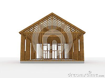 Casa di legno della costruzione 3d immagini stock for Piani di costruzione della casa libera