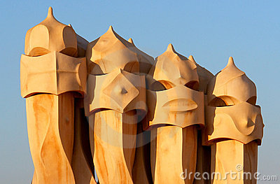 Casa Mila by Antoni Gaudi - roof top - Barcelona