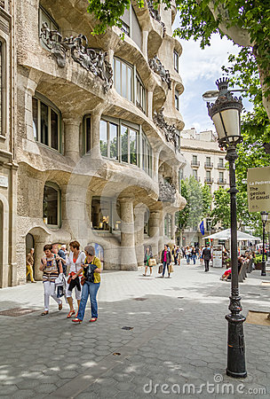 The Casa Mila, better known as La Pedrera, in Barcelona, Spain Editorial Image