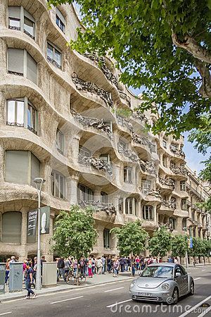 The Casa Mila, better known as La Pedrera, in Barcelona, Spain Editorial Photography