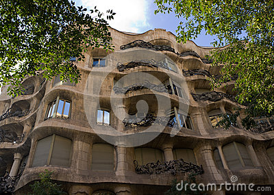 Casa Mila details facade Editorial Stock Photo