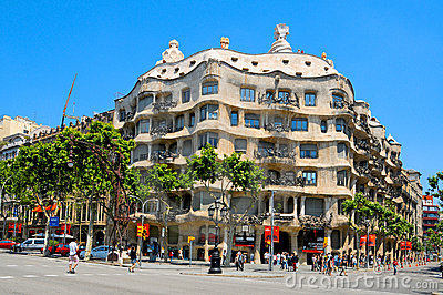 Casa Mila, or La Pedrera, Barcelona, Spain Editorial Photo