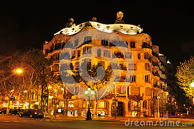 Casa Mila, or La Pedrera, in Barcelona, Spain Editorial Image