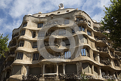 Casa Milia - Barcelona - Spain Editorial Photography