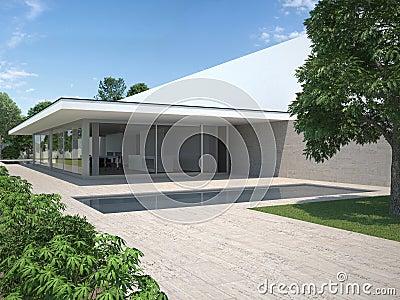 Casa moderna con el jard n y la piscina fotograf a de for Casa moderna vector