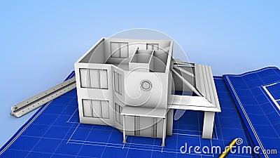 Casa que está sendo construída em um modelo