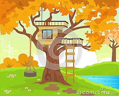 Casa sull 39 albero illustrazione vettoriale immagine 44770606 for Planimetrie della casa sull albero