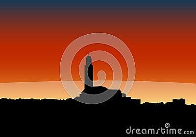 Casablanca skyline at sunset