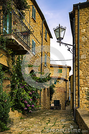 Free Casale Marittimo Old Stone Village In Maremma. Picturesque Flowe Royalty Free Stock Image - 79495406