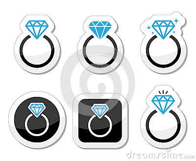 Casamento, ícone do anel de noivado do diamante