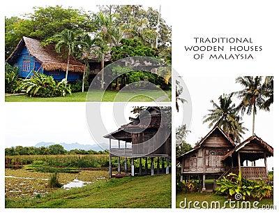 Casas de madera tradicionales del collage de Malasia