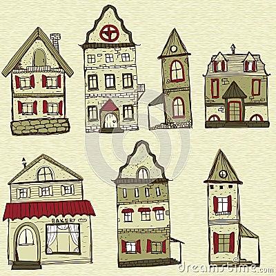 7 casas dise adas viejas fotograf a de archivo imagen for Renovacion de casas viejas
