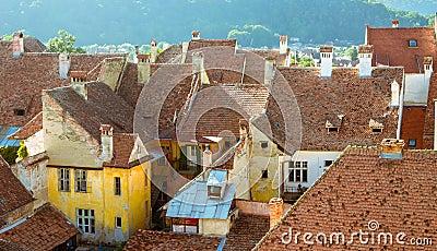 Casas medievais em Sighisoara, Roménia-vista geral