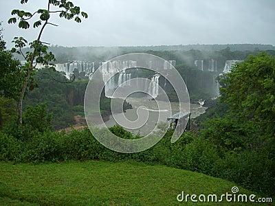 Cascade à écriture ligne par ligne d Iguazu en Argentine