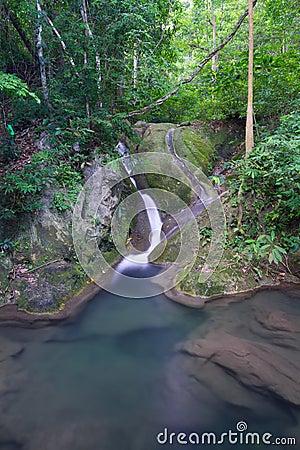 Cascade à écriture ligne par ligne profonde de forêt en Thaïlande