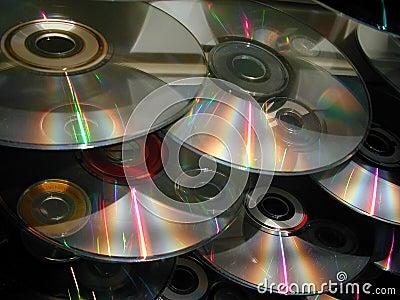 Cascade of CDs Stock Photo