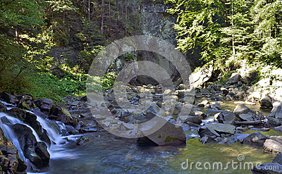 Cascade under rocks