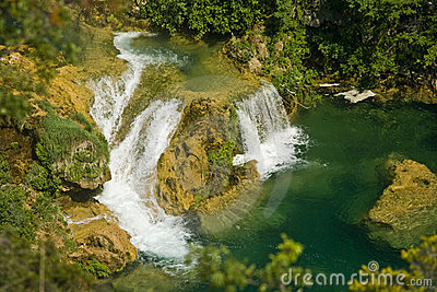 Cascades and lake in the Krka national park