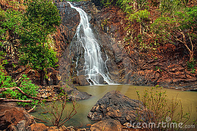 Cascading jungle waterfall