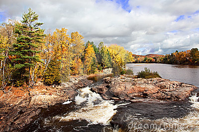 Cascading River and Fall Colors