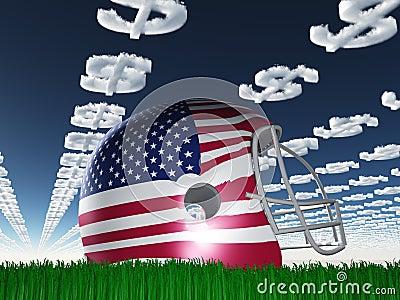 Casco de fútbol americano del indicador americano con las nubes del símbolo del dólar