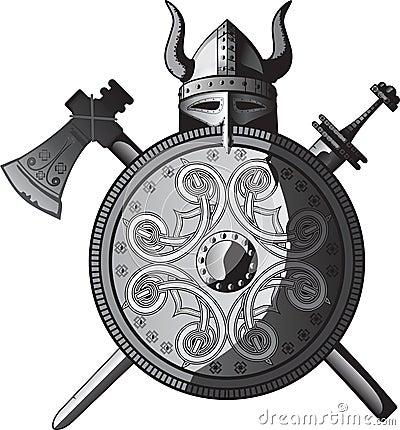 Casco, spada, ascia e schermo di Vichinghi
