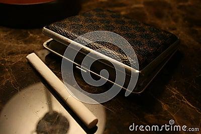 Case for cigarettes with cigarette
