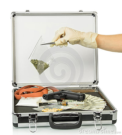 Free Case With Money And Drugs Royalty Free Stock Images - 54599579