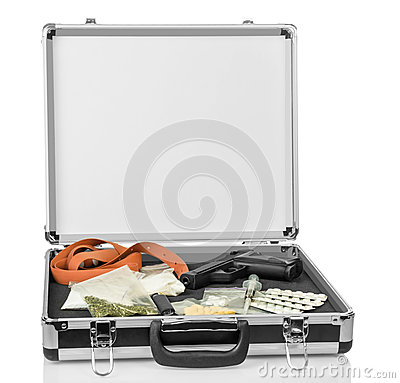 Free Case With Money, Gun And Drugs Stock Photo - 63685160