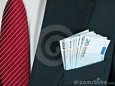 Cash in business suit pocket - Euro