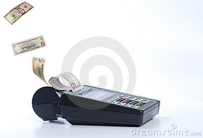 Cash on credit card machine