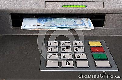 Cash machine with Euros - closeup