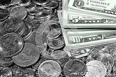 Cash Money Bills and Coins
