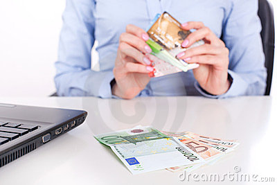 Cash money and credit cards