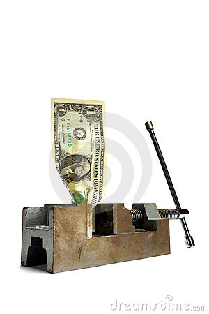 Free Cash Money Crunch Dollar Bill Crushed In Vise Royalty Free Stock Photos - 1927288