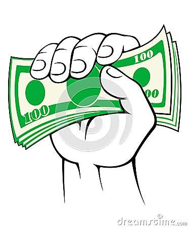 Cash money in hand