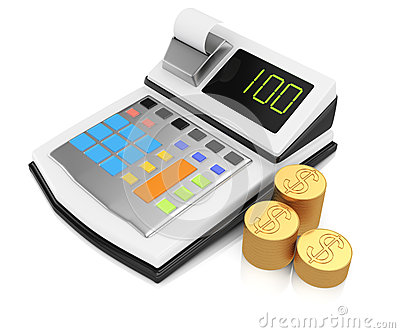 Cash register and coins