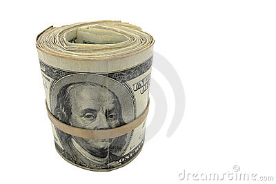 Cash Roll of American US Dollar Money Isolated