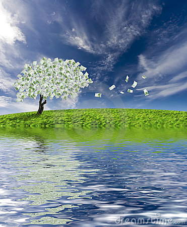Free Cash Tree With Reflection Royalty Free Stock Photography - 3825047
