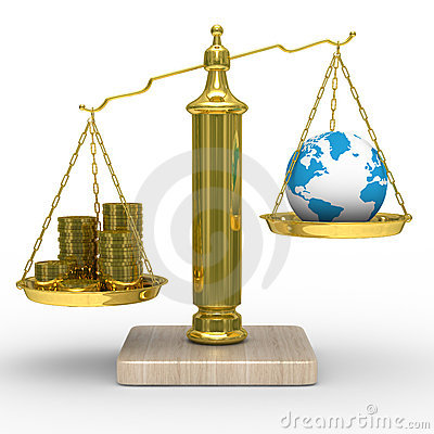Cashes and the globe on scales