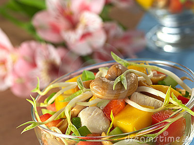 Cashew Nut and Bean Sprout on Salad