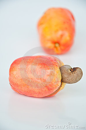 Cashew nut on white background