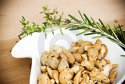 Cashew nuts and herbs