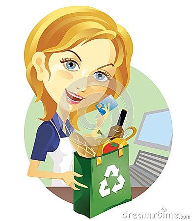 Supermarket Cashier Stock Illustrations – 729 Supermarket Cashier ...