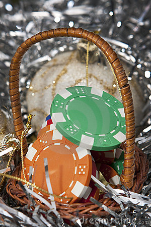 Casino chips bonus in a Christmas basket