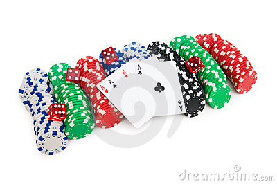 Casino chips and cards isolated