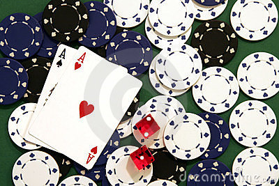Casino Chips, Dice and Cards