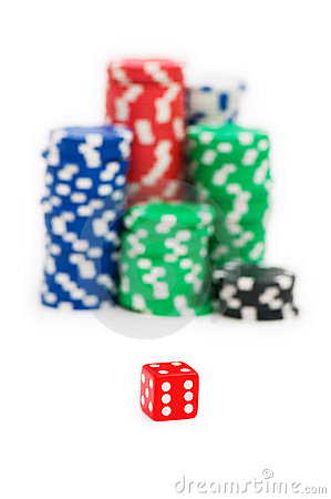 Casino chips and die isolated