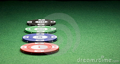 Casino Chips on Green